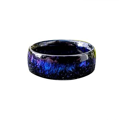 SADFA Anillo de resina con diamantes de arco iris, anillo de ópalo azul nube, diamante fundido, regalo brillante de acabado suave para hombres y mujeres (B,9)