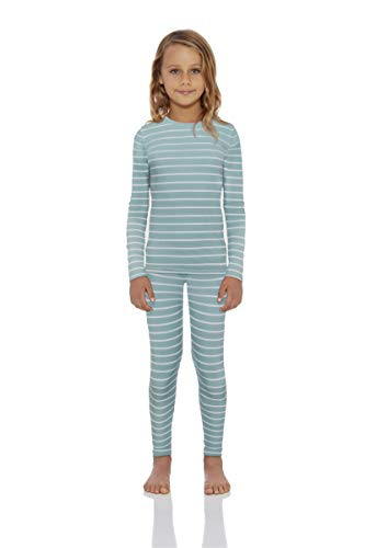 Rocky Thermal Underwear for Girls Fleece Lined Striped Thermals Kids Base Layer Long John Set