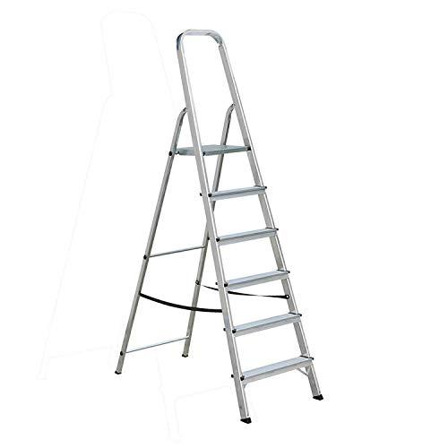 WLGQ Escalera de Aluminio de 6 peldaños, Escalera Plegable, con Bandeja de...