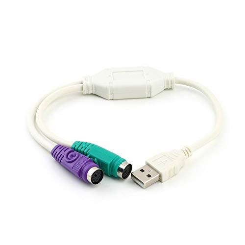 deYukiko USB-stekker naar PS2-bus kabeladapter converter gebruik voor toetsenbord naar muis wit