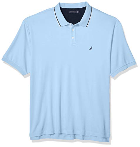 Nautica Men's Big Classic Fit Short Sleeve Solid Tipped Collar Soft Polo Shirt, Noon Blue, 3XLT Tall
