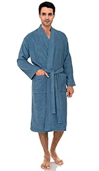 TowelSelections Men's Robe Turkish Cotton Terry Cloth Kimono Bathrobe Medium/Large Blue Heaven