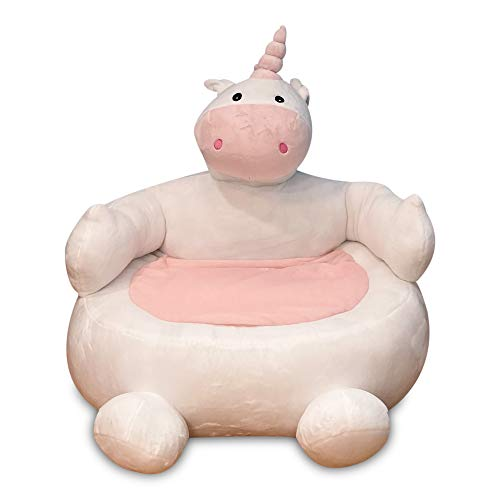 Kids Plush Chair – Unicorn Baby Couch – Soft and Snuggly Bean Bag Chair for Kid's Room and Nursery – 24-inch Baby Cute Sofa Chair with Elephant/Unicorn Design Plush Polyester