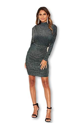 AX Paris Women's Lace Bodycon Dress with Crochet Detailing(Black, Size:6)