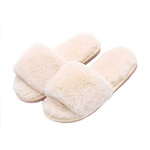 Pantofole estive da Donna, Pantofole Invernali, morbide Pantofole da Donna, Pantofole in Cotone, Pantofole in Pelliccia da Donna,39/40,Bianca