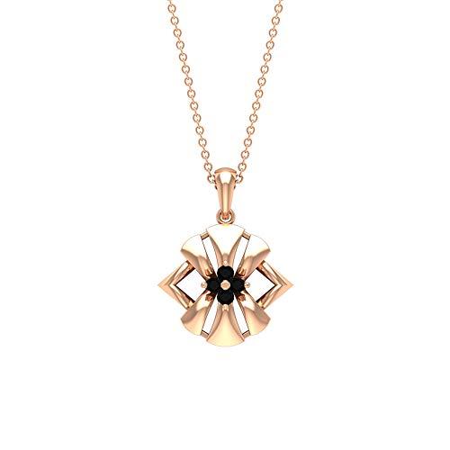 Custom 0,12 ct Brillante Corte Brillante Certificado Diamante Negro Oro Grabado Colgante, Mujer Aniversario Charm Gota Colgante Vintage Flor, 10K Oro rosa Sin cadena