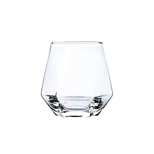 Copa de vino de cristal sin plomo, 6 caras, copa de vino de gran capacidad con borde dorado para todas las ocasiones, color transparente