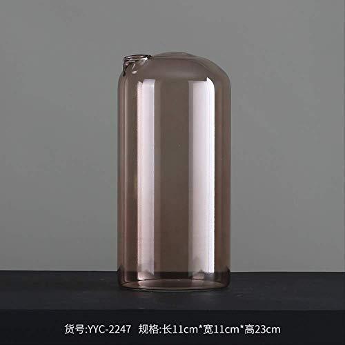 MJDLDV Decoratie, Home Decoration Spray Transparant Bruin En Roze Schoorsteen Glazen Vaas Tafelblad Stuk Creatief Glas Bloemenartikelen 23 X 11 X 11cm