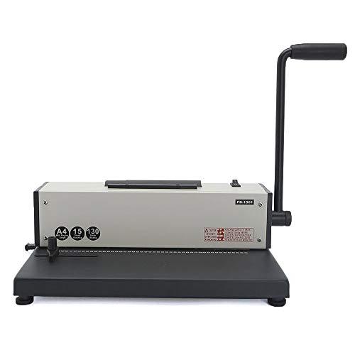 Máquina de encuadernación en espiral eléctrica Rayson PD-1501 de 46 agujeros. Capacidad para perforar 15 hojas de tamaño A4. Color negro y plateado, color plata PD-1501