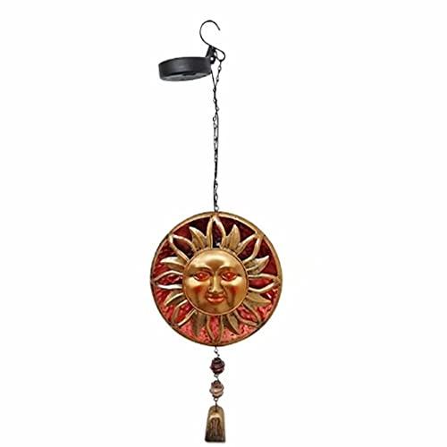 Campanas de Viento Sol Luna Cara Energía Solar Campanas de Viento de Metal Colgante de Pared Colgante Redondo Arte de Metal Solar Campana de Viento con luz LED Hogar Creativo