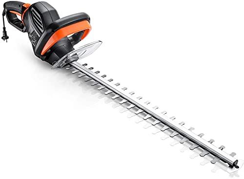 Taille-Haies Électrique, 750W Taille-Haies, Lame 61cm & Capacité de Coupe 24mm, Coupe à Double Action, Poignée rotative & Anti-Vibration, Blocage Sécurisé Rapide