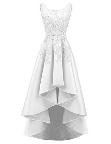 HUINI Elegant Abendkleider Ärmellos Spitzenkleider Vintage Cocktail Partykleider Wadenlang Satin Brautkleider Hochzeitskleider Weiß 40