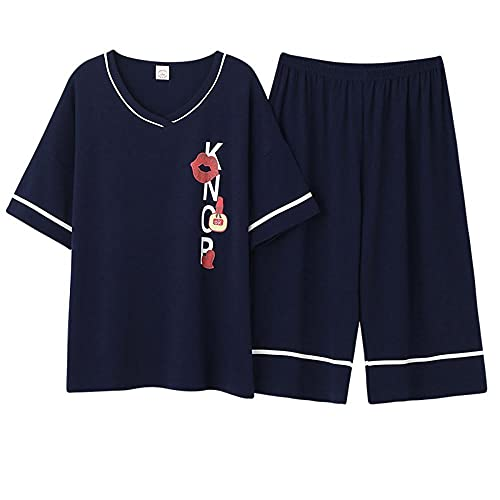 AOQW Cartoon Women Pajamas Set Round Neck Casual Female Pyjamas Short Top Short Pants Fiestas De Ropa De Dormir En Casa O Incluso Yoga Sportswear-5_5XL