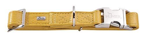HUNTER CAPRI ALU-STRONG Halsung, Hundehalsband, Aluminium Steckverschluss, Leder, weich, M, metallic gelb