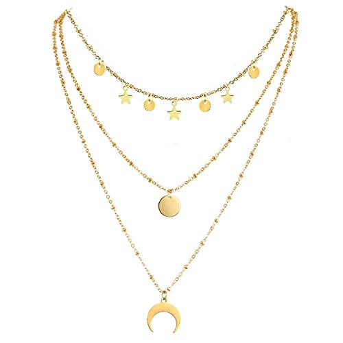 Gargantilla de estrella de acero inoxidable con cadenas de 3 capas para mujeres y niñas, collares con colgante de borla de luna de disco redondo de cuerno multicapa