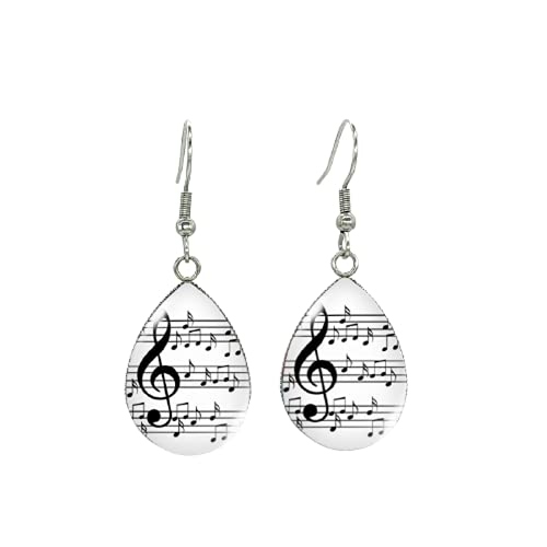 Pendientes de gancho con forma de pez, para notas musicales, hechos a mano, joyas colgantes