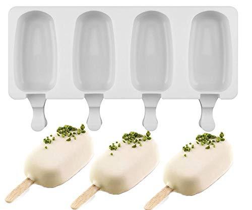 Cxssxling Eiscreme-Form Popsicle Formen Set EIS Pop Macher, BPA Frei, 1 Stück 4 Zellen Silikon Eisform Schön Pop Form Mit 10 Holz Popsicle Sticks Deckel Cake Popsicle Form