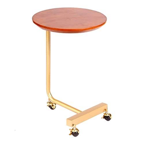 Tables basses Côté Canapé Quelques Tables Roulantes Mobiles À roulettes Salon Table Ronde en Bois Massif Table De Chevet Cadeau (Color : Brown, Size : 40 * 40 * 70cm)