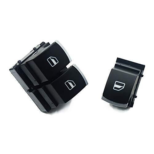 AWQC Interruptor de la Ventana Chrome Mater Single Window Control Compatible con VW Golf 5 6 Touran Passat B6 B7 CC Caddy Tiguan Polo Touran 5K3959857 y 5ND959855 reemplazo