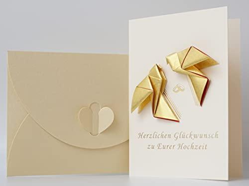 """NEU CherriFriends® Handmade Hochzeitskarte gold veredelt \""""Tauben\"""", Geschenkkarte Hochzeit, Glückwunschkarte zur Hochzeit edel"""