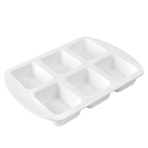 Sweese 525.101 Porcelain Mini Loaf Pan, Non-Stick Square Muffin Cupcake Pan, 6-Cavity, White