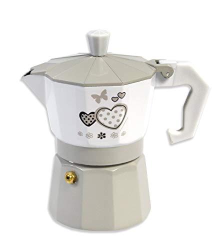 Vetrineinrete Caffettiera Fango e Bianco Shabby Chic Moka 2 o 3 Tazze Macchina del caffè in Alluminio per Espresso Idea Regalo (3 Tazze) D64