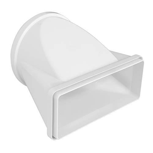 La Ventilazione CGO229B - Junta horizontal de tubo redondo de 150 mm de diámetro a rectangular de 220 x 90 mm de ABS, color blanco