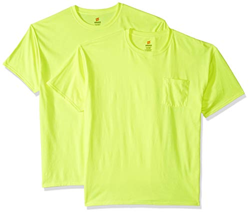 Hanes Men's Workwear Short Sleeve Tee (2-Pack), Safety Green, X Large