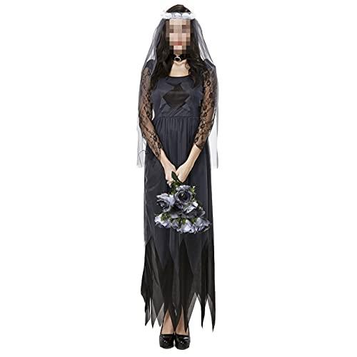 NASTON Disfraz de Cosplay Femenino de Halloween, Vestido de Encaje Disfraz de Bruja Vampiro, M-2XL,Negro,L
