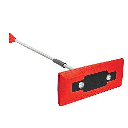 Snow Joe SJBLZD-LED-RED 4-In-1 Telescoping Snow Broom + Ice Scraper | 18-Inch Foam Head | Headlights (Red)