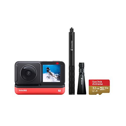 Insta360 One R 360 Edition Kit del Creador - 5.7K Cámara de 360 Grados con Estabilización, IPX8 Impermeable, Efecto Selfie Stick Invisible, Pantalla Táctil, Edición de AI