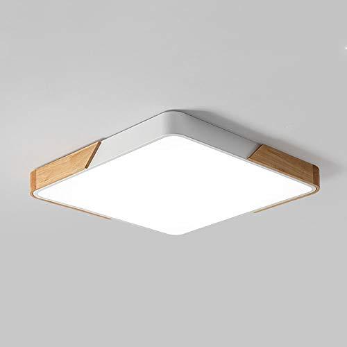 Led-plafondlamp van hout, vierkante lamp op het plafond, leeskamer, lighting, modern, slaapkamer, plafondlamp, binnenverlichting, bureau-plafondlamp (afmetingen: 30 x 30 cm-16 W) [energie-efficiëntieklasse A++]