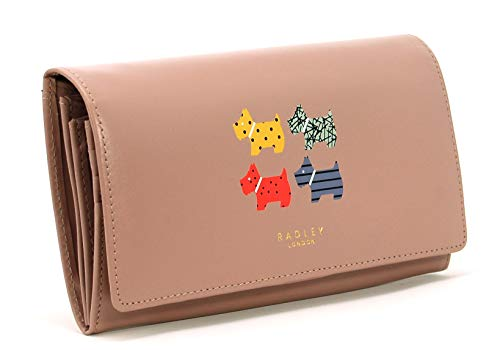 RADLEY Large Flapover Matinee Purse Quad Dog in Blush Pink Leather RRP £89.00