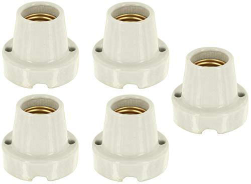 5-pack – opbouwlamp keramiek hard porselein E27 – Basic natuurlijk wit – max. 1000 W – bijv. voor terraria.