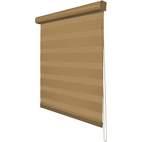 Zebra Rollo, Easy Fix ohne Bohren, Tag und Nacht Jalousien Doppellagige Rollos Vorhänge mit Installationszubehör für Fenster und Tür, mehrere Größen