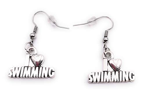 H-Customs I Love Swimming Schwimmen Ohrringe Ohrschmuck Anhänger Silber Metall