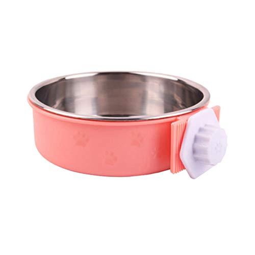 POPETPOP ペットボウル ハンガー ゲージ用 固定 ペット食器 餌入れ ヘルスウォーターボウル 猫 犬 うさぎ 小動物用 食器 16x16x5cm ピンク