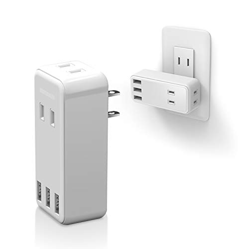 エレコム 電源タップ USBタップ 2.4A (USBポート×3 コンセント×2) 直挿し ホワイト ECT-03WH