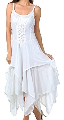 Sakkas 0131 Corset Style Bodice Jaquard Lightweight Handkerchief Hem Dress - White - One Size Plus