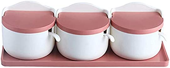 Seasoning Box with lid and Spoon Storage Box Kitchen Storage Box Pink