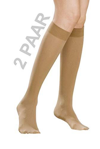 2 Paar - NYLON - Kompressionsstrümpfe Thrombosestrümpfe Damen Herren - Bus & Flug - 80 DEN - mit Massagesohle*IM SPARPACK*