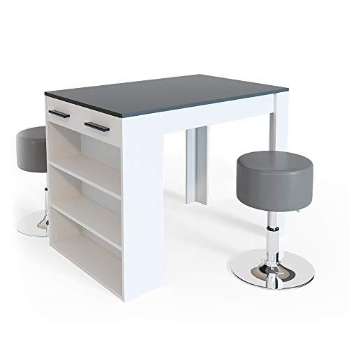 Vicco Bartisch Esstisch Tisch Bistrotisch Essplatz Schublade Regal Bar Weiß wahlweise mit Barhocker (Weiß-Anthrazit mit Barhocker)
