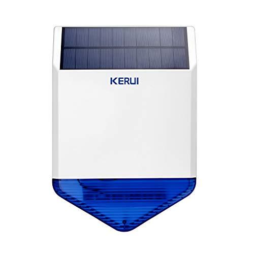KERUI Funk-Außensirene Solar SJ1, Erweiterbar Zubehör für Alarmanlagen von KERUI, Alarmsirene mit 110 dB, Außensirene mit Blitzlicht, wasserdichte Sicherheitstechnik