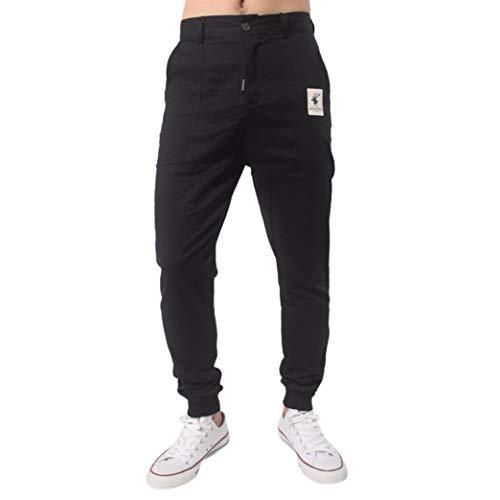 Realdo Clearance, Men Trousers Solid Sweatpants Slacks Casual Jogger Pant Sportwear Comfy (38,Black)