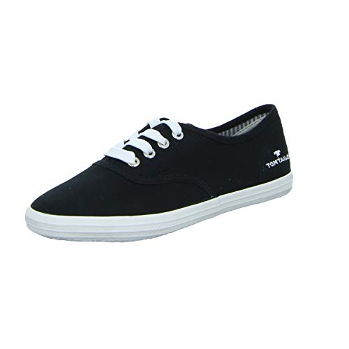 TOM TAILOR Damen 3292401 Sneaker, Black, 38 EU