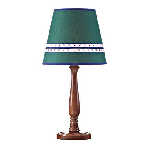 Lámpara de mesita de noche Lámpara de mesa Habitación for niños Dormitorio Lámpara de cabecera Personalidad Pantalla de tela Soporte de lámpara de madera marrón Lámpara de mesa ( Color : B )
