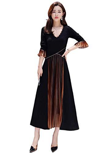 Vrouwenfeestjurk uitlopende lange mouwen lijn plissé grote retro cocktailparty swingen-lange jurk