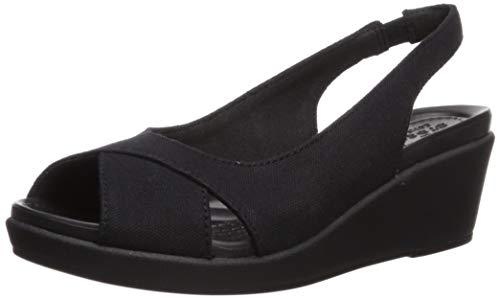 Crocs Women's Leigh Ann Slingback Wedge Sandal, Black/Black, 4 M US