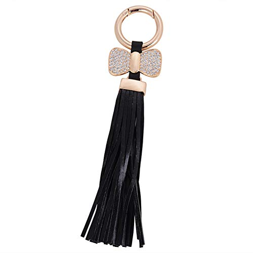 Artily Leder-Quaste Schlüsselanhänger Handtaschen-Anhänger mit Schleife und Schlüsselanhänger, modischer Autoanhänger für Frauen und Mädchen, schwarz, 18.5 * 4cm