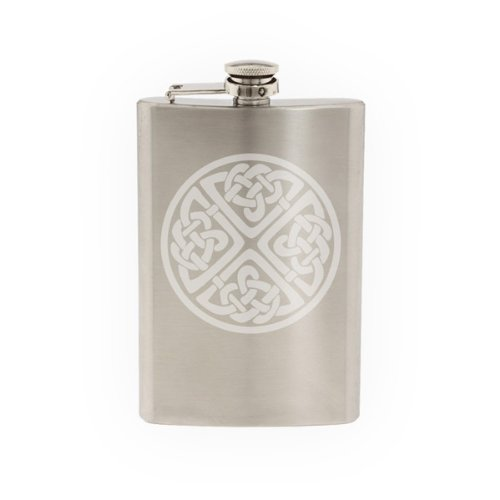 Ireland Traditional - Irish Circular Celtic Knot - Religion - Etched 8 Oz Stainless Steel Flask